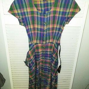 VTG housewife 90's goes 50's plaid dress